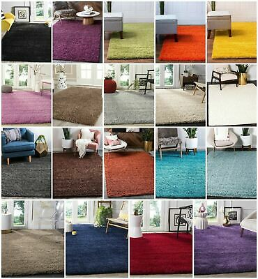Solid Shaggy Rug Small X Large Soft Rectangle 5cm Thick Plain Carpet Bedroom