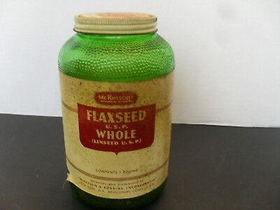 Vintage McKesson's Flaxseed 1 LB Green Glass Jar W/LABEL & LID~CONTAINS SEEDS