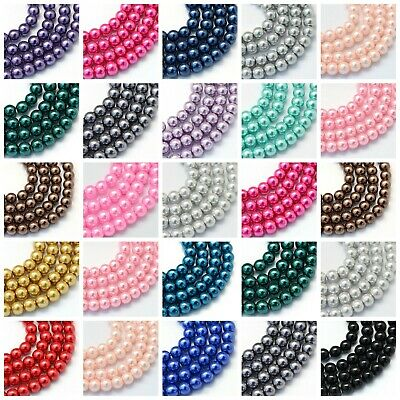 Glass Pearl Beads - 1 Strand -100 x 6mm or 50 x 8mm BUY 4 GET 4 FREE