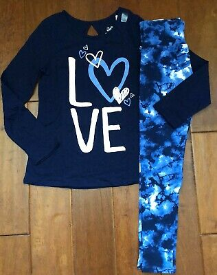 Nwt Justice Girls Size 8 10 12 14/16 Outfit~Heart Pattern Tee / Tie Dye Leggings