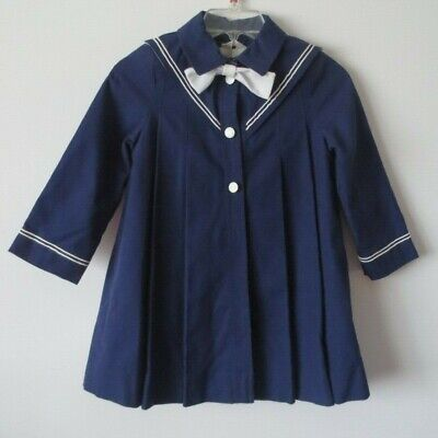 Vintage Rothchild Girls 100% Cotton Dress Coat Navy Sailor Size 6 NWOT