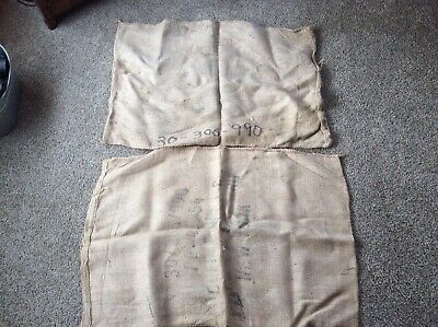 "2 Vintage Burlap Bag Sack - No Advertising, Some Writing 27"" X 40"""