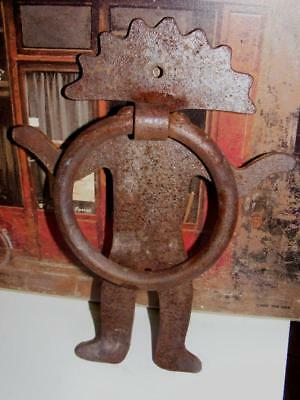 Large Rustic Old Cast Iron Door Knocker Mexico Southwest Mayan Aztec God Antique