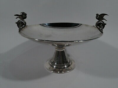 Tiffany Compote - Antique Classical Kylix Bird Bowl - American Sterling Silver
