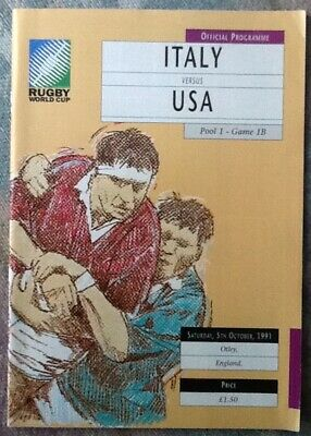 1991 RUGBY WORLD CUP - Italy v USA (United States of America) programme