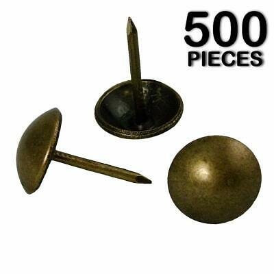 500pc ANTIQUE BRASS FINISH UPHOLSTERY NAILS FURNITURE TACKS FRENCH NATURAL THUMB
