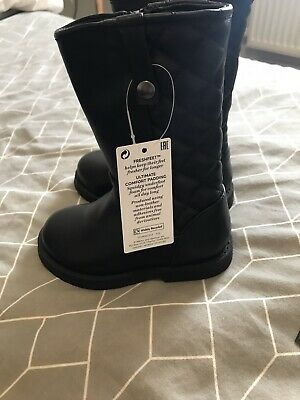 BNWT Marks & Spencer Girls Long  Black Faux Leather Boots Size 6