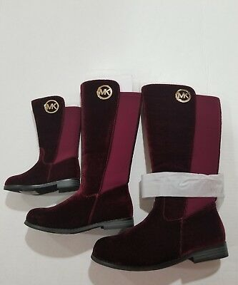 MICHAEL KORS EMMA LILY T GIRLS SUEDE PLUM burgandy BOOTS YOUTH SIZE 12 BIG KIDS