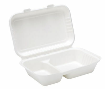 Biodegradable and Compostable Clamshell Bagasse 9'' 2 Compartment Takeaway Box