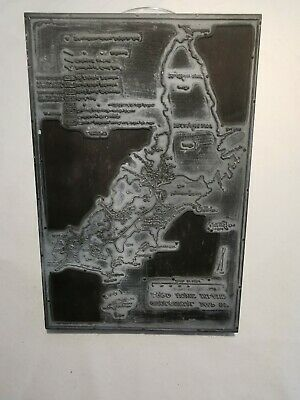 Antique Etched Metal and Wood Block Map of Lord Howe Island