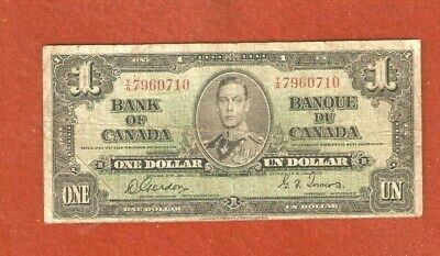 1937 King George VI One Dollar Bank Note Circulated Nice Note G143