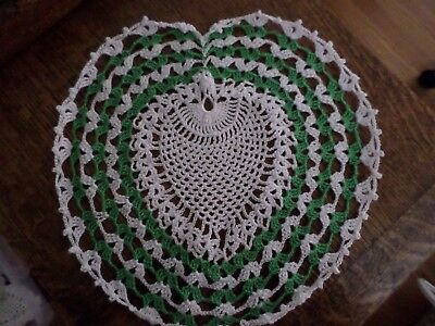 "Hand Crocheted Heart Shaped Doily 10"" X 11"" Green & White  FREE SHIPPING"