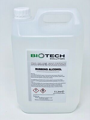 IPA 99.9% 1 x 5 LITRE Rubbing Alcohol Isopropyl Alcohol/Isopropanol 5L