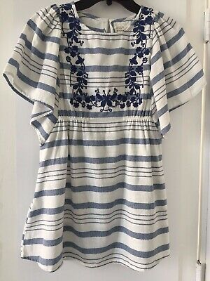 NWT ZARA Kids White Blue KAFTAN DRESS Embroidered Size Flowers Size 8/134cm O941