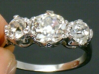 18CT gold  18K Gold 2.50ct Old Cut Diamond Antique Art Deco ring size N