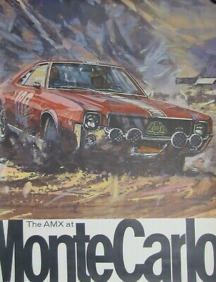 THE AMX AT MONTE CARLO Vintage Auto Car Race Advertising Poster Printed in USA