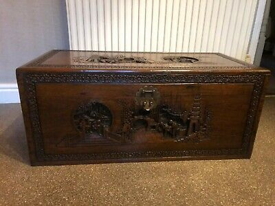 Camphor Wood Chest - Hand Carved. Blanket Box, Storage Box, Chinese