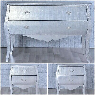 Moc Croc Silver PU Embossed Oval 3 Drawer Bedside Table Cabinet