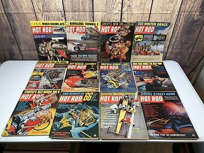 Lot of 12 Vintage 1965 HOT ROD Car Magazines Complete Year (0)