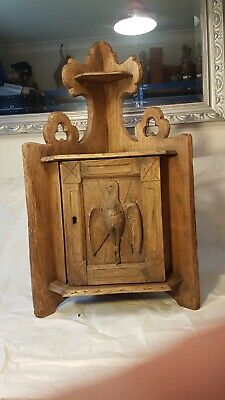 Antique Tabernacle Oak Hand Carved Dove Host  Chalice Cupboard Holder