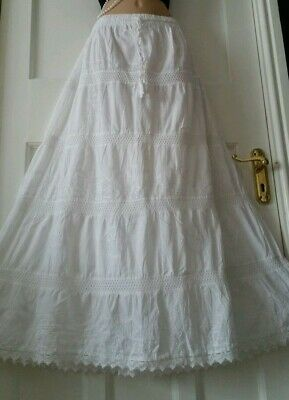White Cotton Skirt Lace Embroidered Gypsy Boho Festival Size 10 12 14 16 18 20