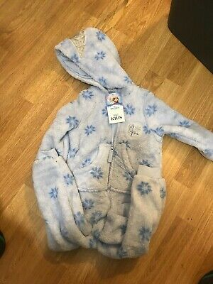 M&S Disney 'Frozen' One Piece Hooded Pyjama Lounge Suit 2-3y 98cm BlueMixBNWT