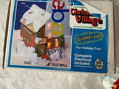 Wee Craft Light Up Olde Mill Christmas Village, Professionally Painted