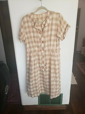 Vintage 50s 60s Cotton Farm Day Retro Mid Century Dress - L/XL - 40x32x40 EUC