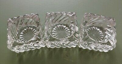 Set of 3 VTG Antique / VTG Open Salt Cellar Dip Dish Crystal (?) Set Of 3