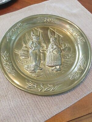 Vintage LOMBARD brass Hanging Plate - England-  Fisherman And Woman w boats