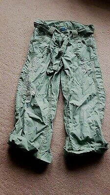 Girls Green Cargo Long Trousers Age 7 Years,Roll Up Type Flower Pattern On,By Tu
