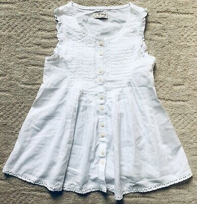 Girls Next Stunning White Sleeveless Smock Shirt Age 6 New 🖤