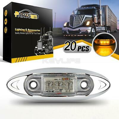 20X Clear Lens Amber Truck Side Marker Clearance Light Oval Chrome 3 LED 12V DC