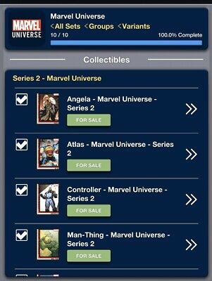 2019 MARVEL UNIVERSE SERIES 2 SET OF 10 CARDS Topps Marvel Collect Digital Card