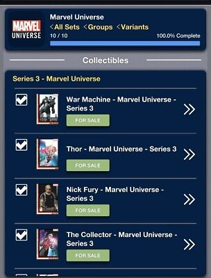 2019 MARVEL UNIVERSE SERIES 3 SET OF 10 CARDS Topps Marvel Collect Digital Card