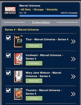 2019 MARVEL UNIVERSE SERIES 4 SET OF 10 CARDS Topps Marvel Collect Digital Card