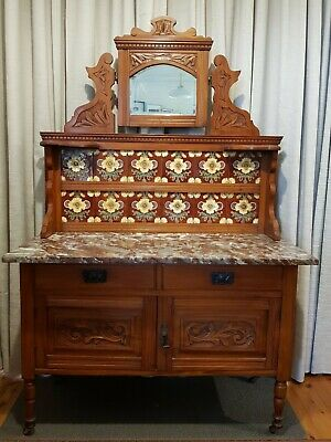 Fabulous Antique Marble Top Washstand with Original Mirror and Tiles