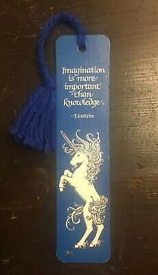 "Vtg 1982 ""Imagination"" Unicorn Einstein Quote BOOKMARK Antioch RARE 70's 80's!"