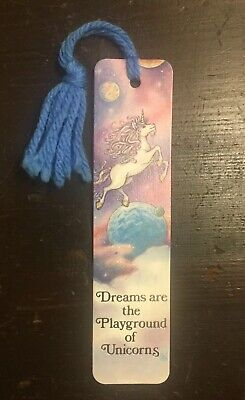 "Vtg 1985 ""Playground of Unicorns"" Planets & Galaxy BOOKMARK Antioch RARE 80's!"