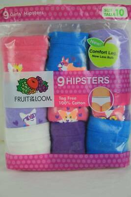 9 Pack Girls Hipsters Panties Size 10 Tagless Underwear Fruit of the Loom Dogs