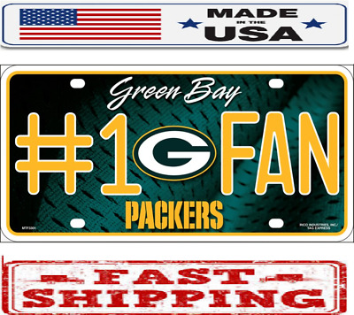 """Green Bay Packers Fan NFL Metal Novelty License Plate Frame Auto Truck Car 6""""X12"""