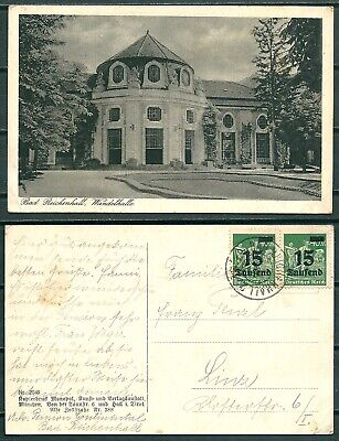 GERMANY 1920s POSTCARD BAD REICHENHALL WANDEHALLE TO LINZ STAMPS w. OVPT -CAG 23