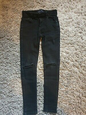 Boy's Next Black Skinny Jeans Ripped Knee Age 9 Excellent Condition