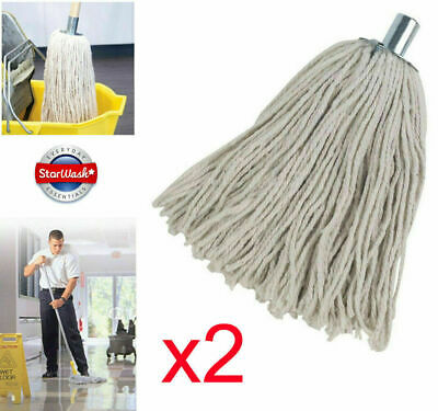2 x Heavy Duty Cotton Mop Head Replacements Metal Socket 16PY Cotton Rich 240gm