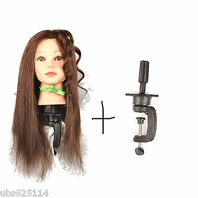 Hairdressing 100% Real Hair Training Head Mannequin Doll with clamp