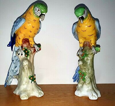Vintage Pair of German Sitzendorf Porcelain Parrots Bright Colours Fine Quality