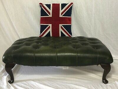 1 Traditional Vintage Extra Large Green Leather Chesterfield Footstool