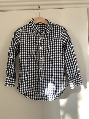 Baby GAP Boys Navy Blue long sleeved checked shirt, Age 5yrs. Good Condition