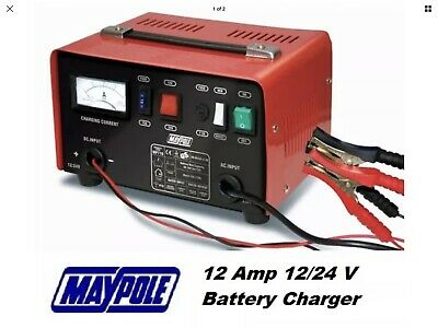 Maypole Heavy Duty Steel 12 Amp 12v/24v Car Van Tractor Battery Charger - MP716