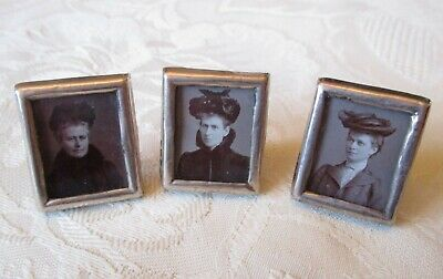 3 x Antique Victorian solid silver tiny miniature photo frames - Birmingham 1902